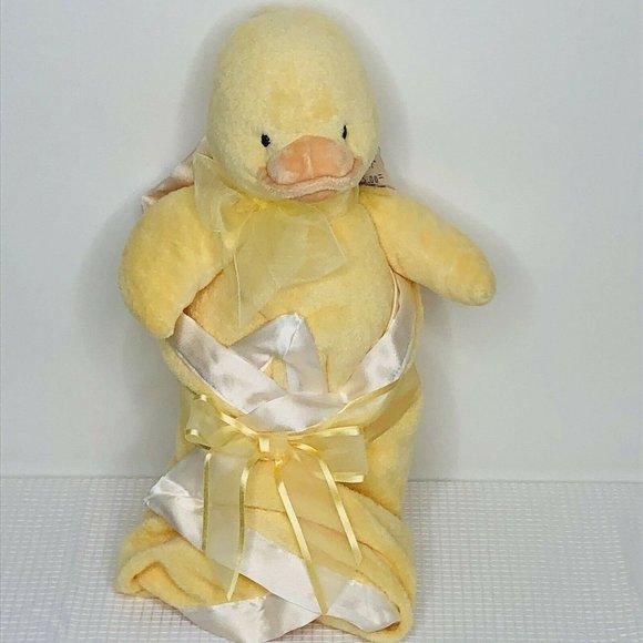 Baby Gund Swaddler Duck Soft Toy With Satin Edge